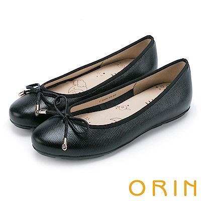 ORIN 氣質女孩 經典壓紋牛皮平底娃娃鞋-黑色