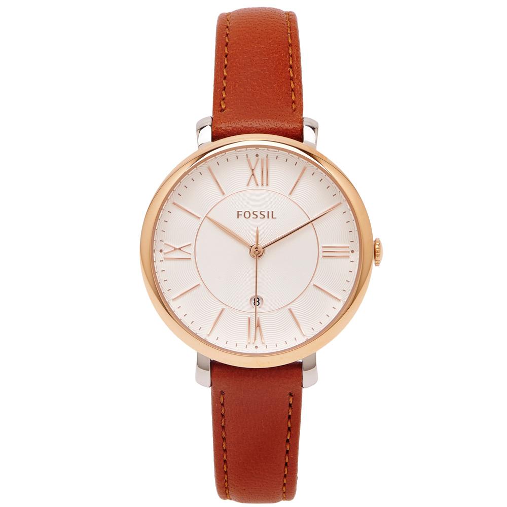 FOSSIL  咖啡優雅風的皮革女性手錶(ES3842)-淡香檳色面/35mm