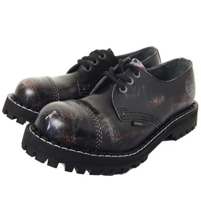 STEEL BOOTS歐洲經典3孔鐵頭鞋-國旗圖紋