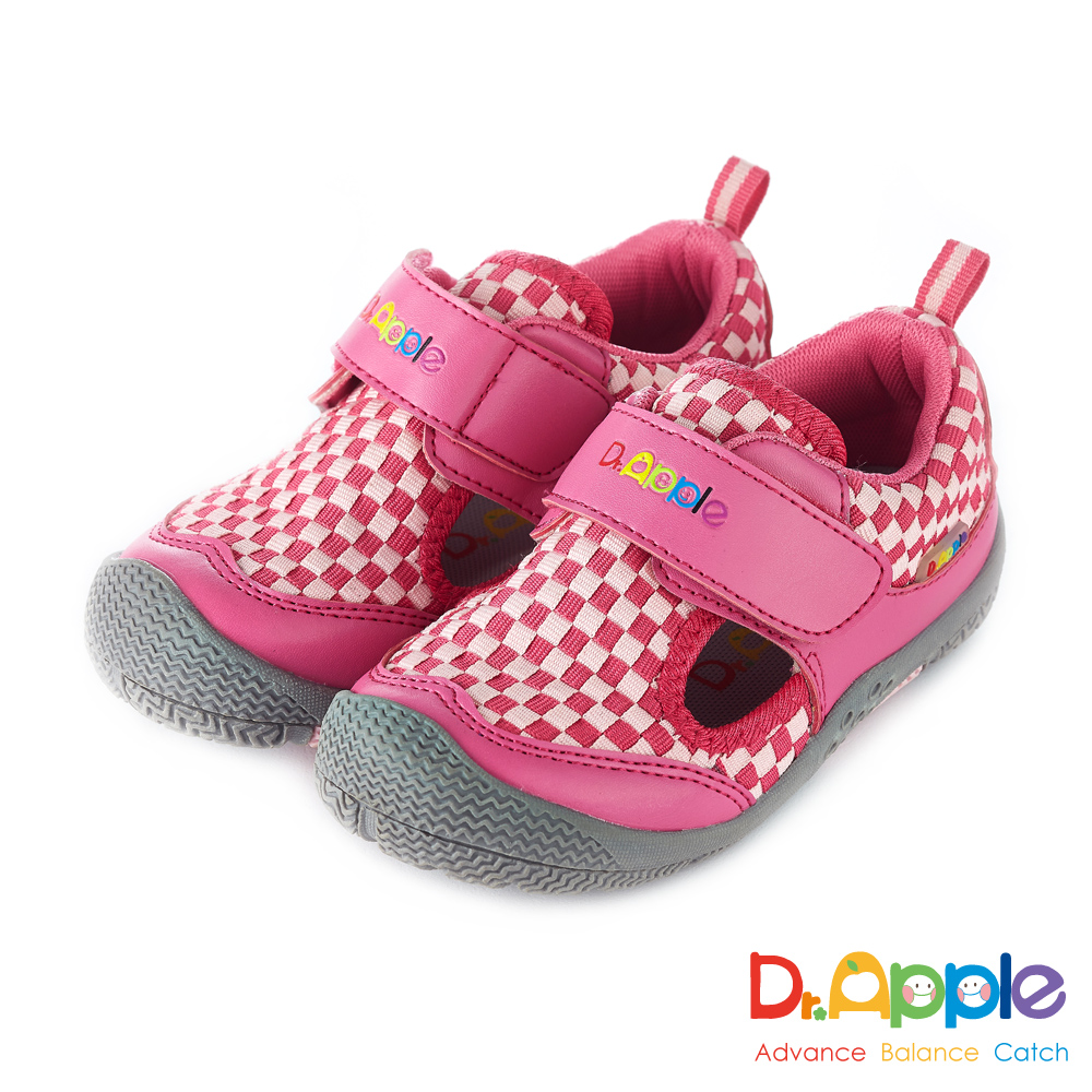Dr. Apple 機能童鞋 跳色交織方格休閒涼鞋款  粉