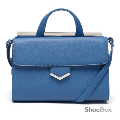 鞋櫃ShoeBox-女包-斜背包-雙面掀蓋素色手提側背包-藍