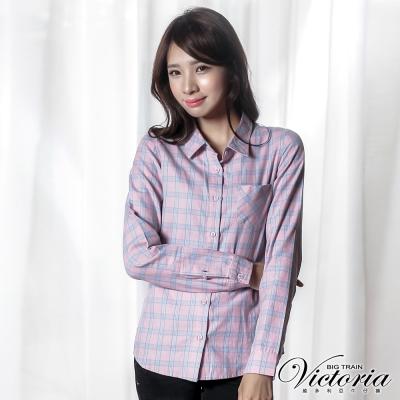 Victoria 格紋基本長袖襯衫-女-粉格