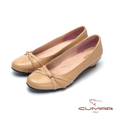 CUAMR嚴選舒適-上班族OL低跟鞋-卡其
