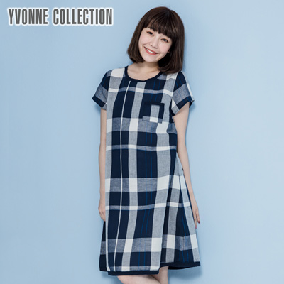 YVONNE棉麻格紋短袖洋裝- 丈青