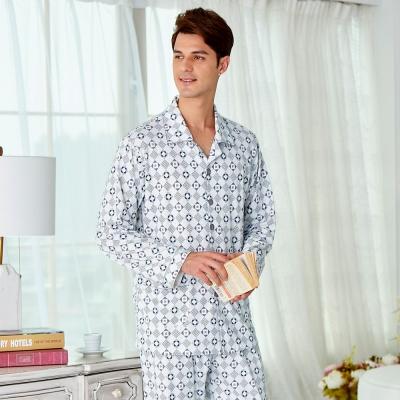 睡衣 精梳棉柔針織 男性長袖兩件式睡衣(68235)灰白幾何格紋 蕾妮塔塔