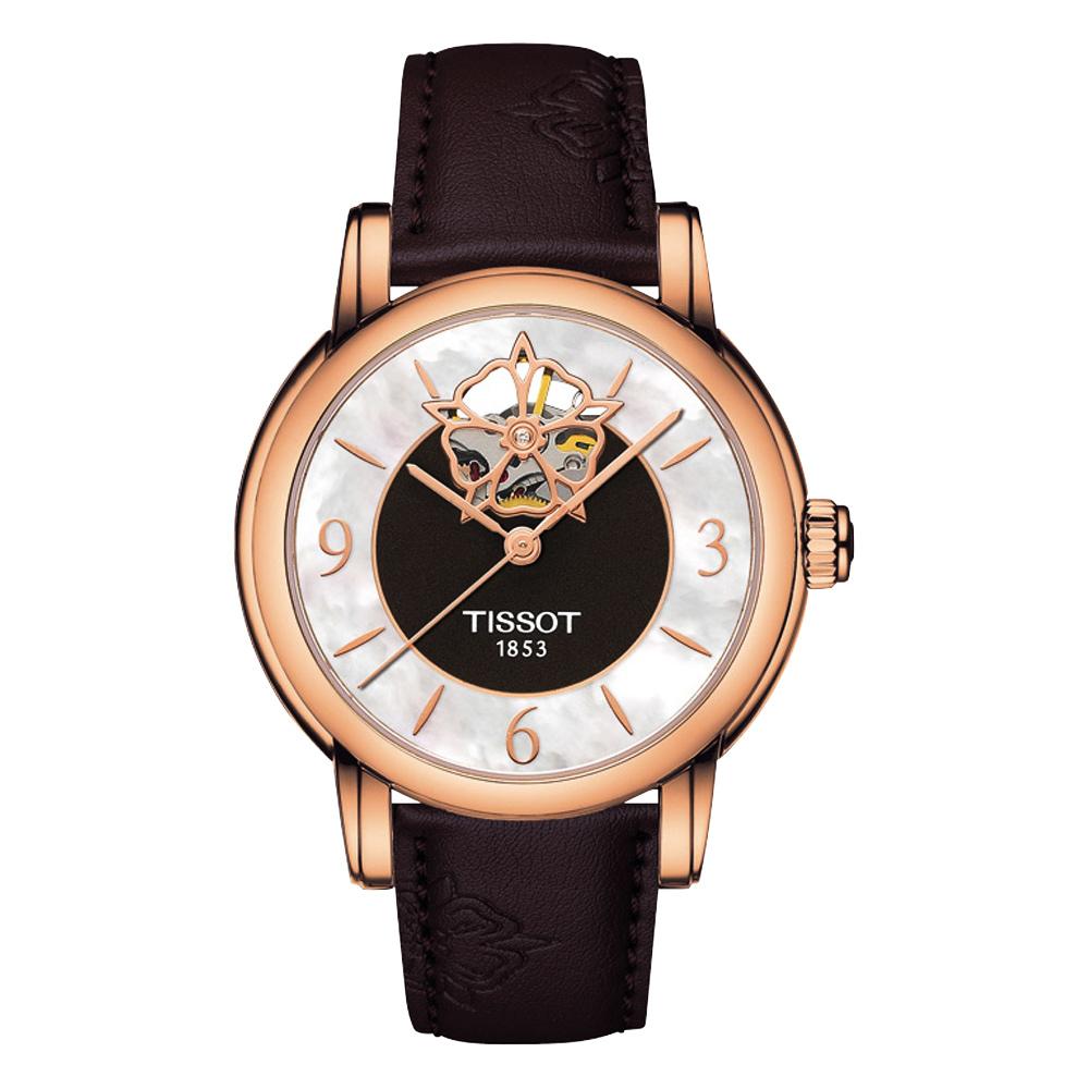 TISSOT Lady Heart 花朵鏤空機械腕錶-珍珠貝x玫瑰金框/35mm