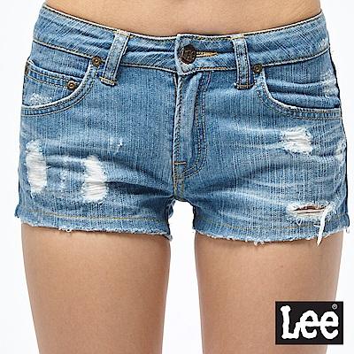 Lee 牛仔短褲 合身刷破牛仔短褲-女款-淺藍