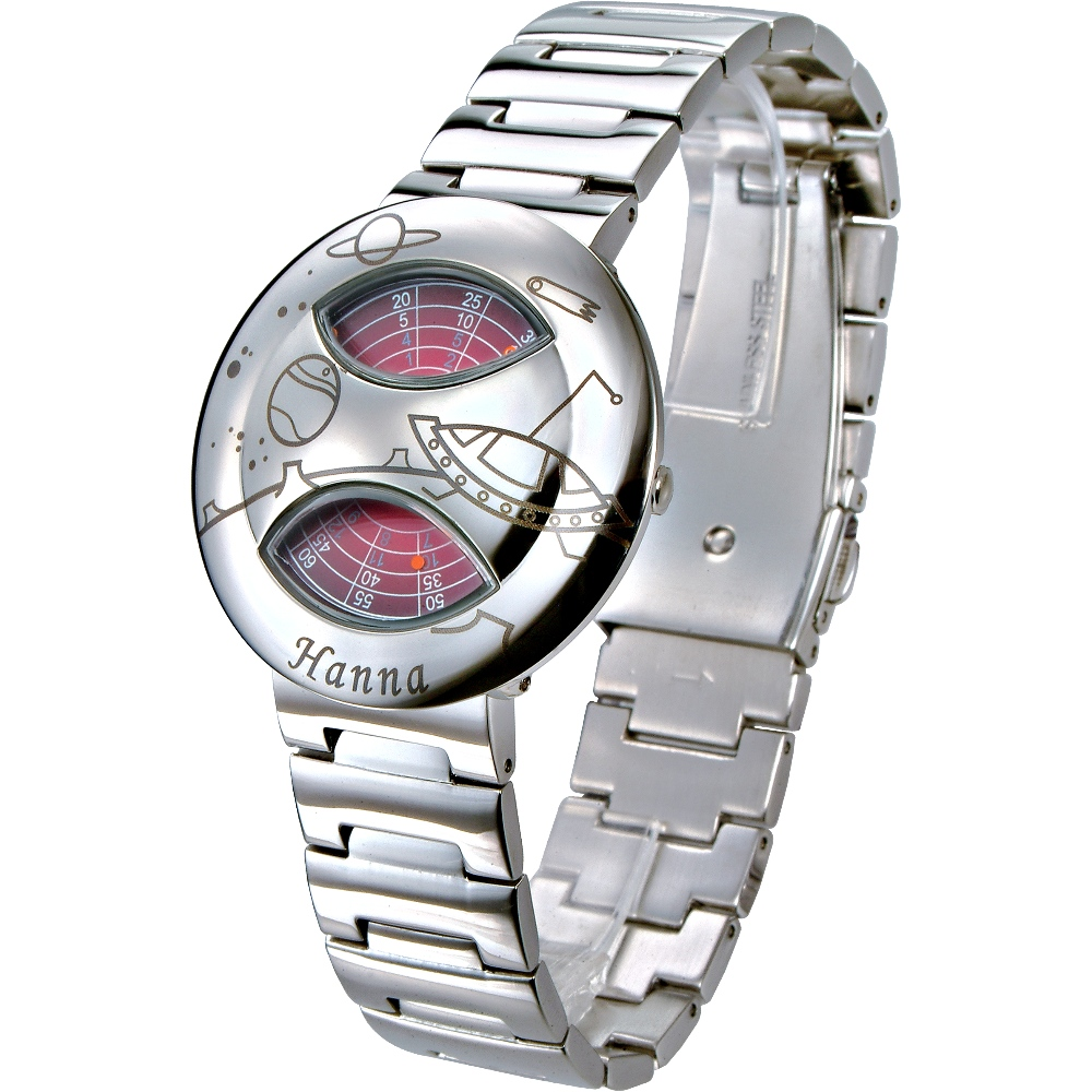Hanna 獨家專利轉盤式腕錶(亮鋼-飛碟)/37mm