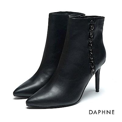 達芙妮DAPHNE 短靴-霧面牛紋金屬鏈條高跟短靴-黑