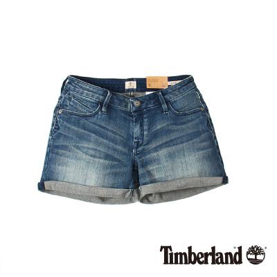 Timberland 女款藍色刷色反摺彈性牛仔短褲