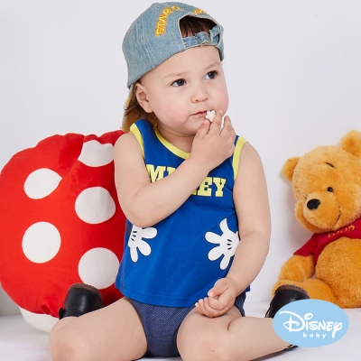 Disney Baby 拍手米奇背心連身裝 寶藍