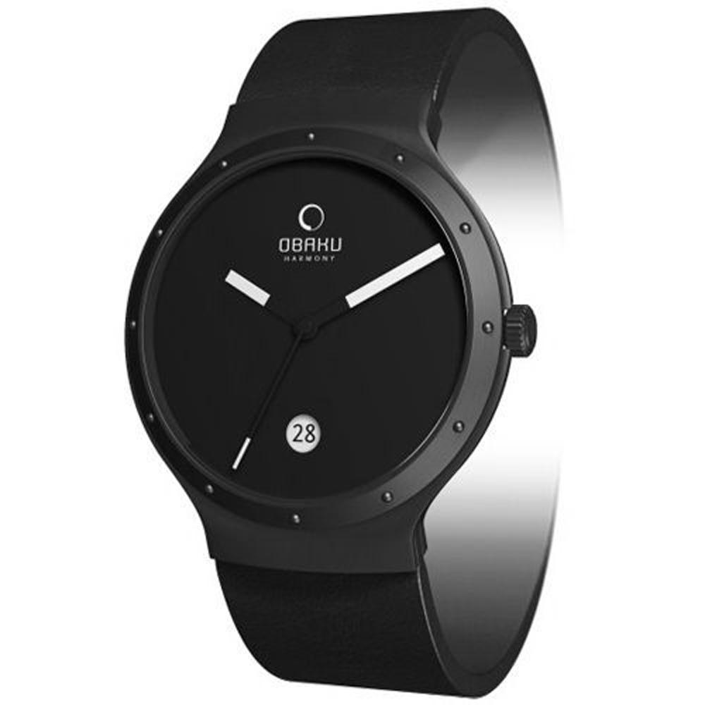 OBAKU 追求完美時尚腕錶(全黑/小/皮帶)-34mm