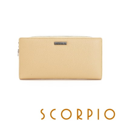 SCORPIO 類真皮超纖系列多卡夾層設計長夾 - 鵝黃色