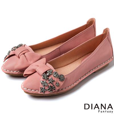 DIANA-超軟Q-雙色羊皮蝴蝶結娃娃平底鞋-粉