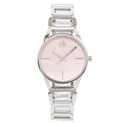 CK Calvin Klein Stately 高貴優雅時尚簍空女腕錶-粉/33mm