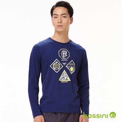 bossini男裝-印花長袖T恤11海軍藍