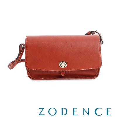 ZODENCE-真牛皮革轉釦肩背斜背翻蓋斜背包-大-橘紅