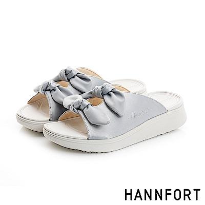 HANNFORT Ultra Comf 4D真絲蝴蝶結厚底拖鞋-女-個性銀
