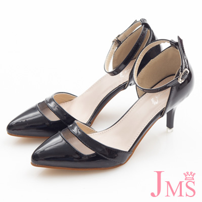 JMS-時尚鏤空尖頭漆皮繫帶中跟涼鞋-黑色