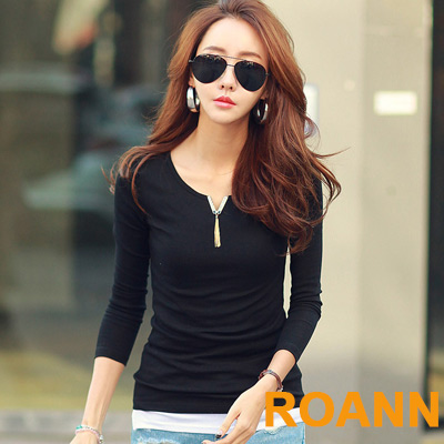純色V領個性裝飾長袖T恤 (共六色)-ROANN