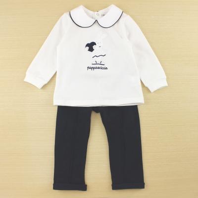 愛的世界 pappa&ciccia 點點小兔娃娃領長袖套裝/ 1 ~ 4 歲