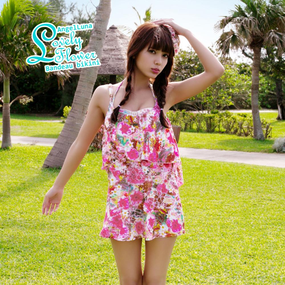 【AngelLuna日本泳裝】印花平口三件式比基尼泳衣-粉色連身裙