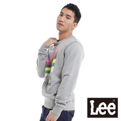 Lee-長袖T恤-印刷絨毛內裡-男款-灰-LL11