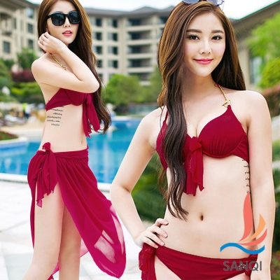 SANQI三奇 俏麗艷夏 三件式鋼圈泳衣(酒紅M~XL)