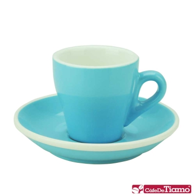 Tiamo 17號鬱金香濃縮杯盤組<b>5</b>客 90cc-粉藍色(HG0850BB)