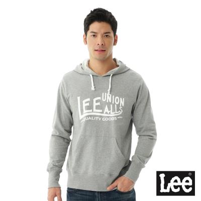 Lee 連帽厚T 白色文字印刷-男款-麻花灰