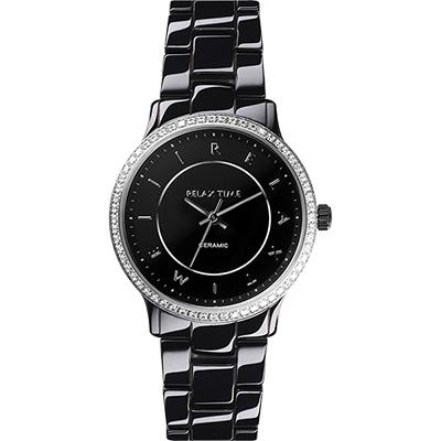 Relax Time 迷你馬卡龍晶鑽陶瓷腕錶-黑/30mm
