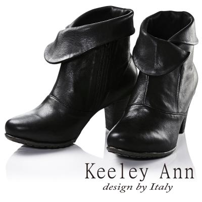 Keeley Ann法式浪漫~反摺造型仿舊擦色全真皮中跟短靴(黑色)