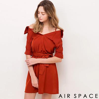 AIR-SPACE-細肩反摺袖襯衫領綁帶洋裝-橘