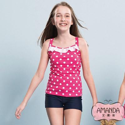 AMANDA 少女泳裝 二截褲-桃莉-5705附帽