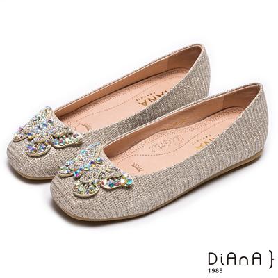 DIANA 漫步雲端焦糖美人款--奢華水鑽蝴蝶飾釦娃娃鞋-星沙金