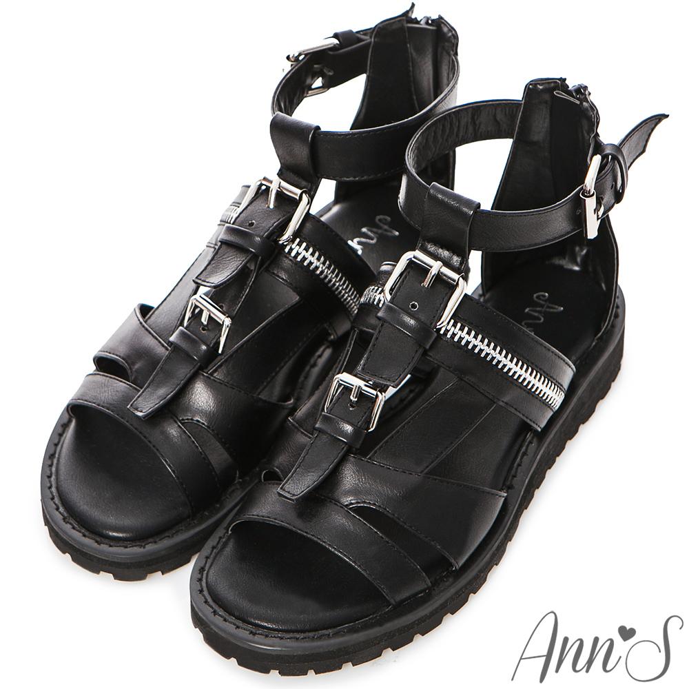 Ann'S歐美注目-率性拉鍊銀釦靴型涼鞋-黑