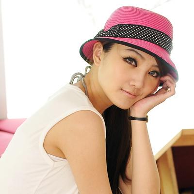 【Aimee Toff】兩用日系水玉緞帶遮陽帽(桃)