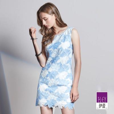 ILEY伊蕾 輕甜水融蕾絲背心洋裝(藍)