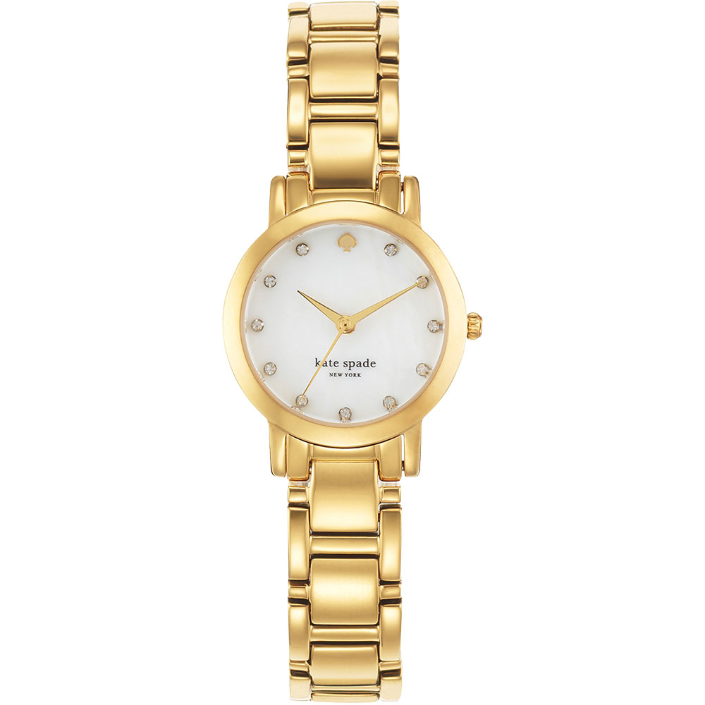 Kate Spade Gramercy 紐約甜心晶鑽腕錶-珍珠貝x金/25mm