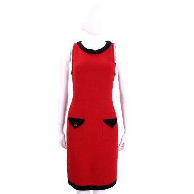 BOUTIQUE MOSCHINO 紅色羊毛毛呢洋裝(紅色/80%WOOL)
