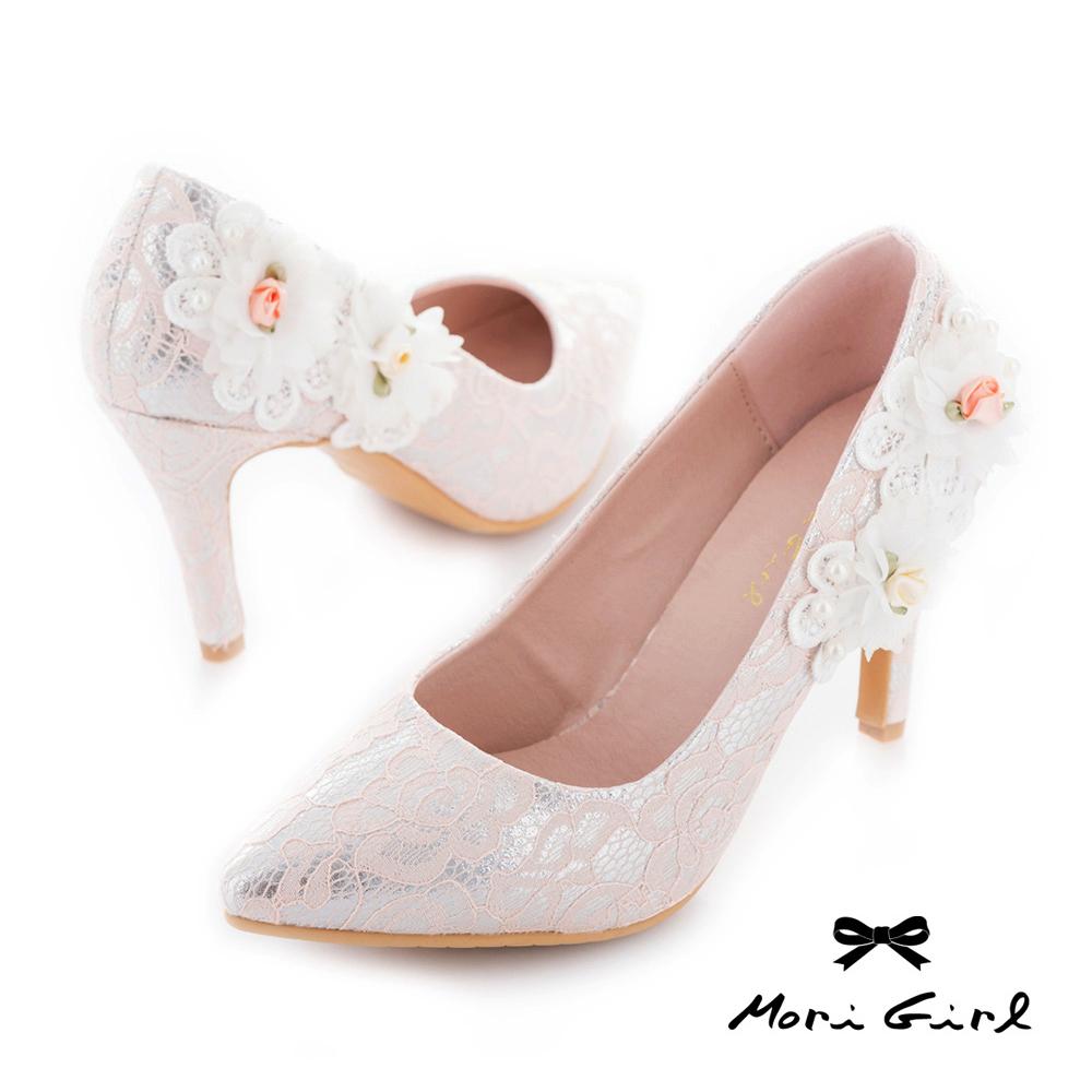 Mori girl手工花飾微尖頭蕾絲高鞋婚鞋 粉
