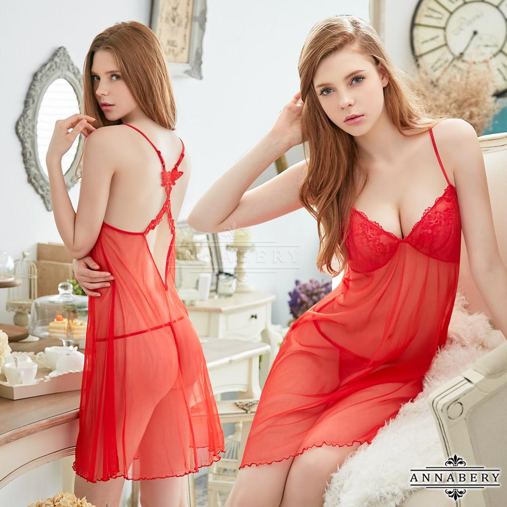 大尺碼Annabery火辣紅色柔紗交叉美背二件式性感睡衣 紅 L-2L Annabery