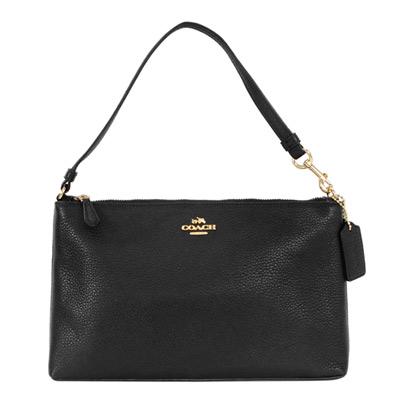 COACH黑色荔枝紋全皮方型手提掛小包