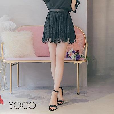 東京著衣-yoco 純色絕美睫毛蕾絲褲裙-S.M.L(共一色)