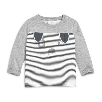 歐美風 條紋狗 男童 純棉長袖T恤