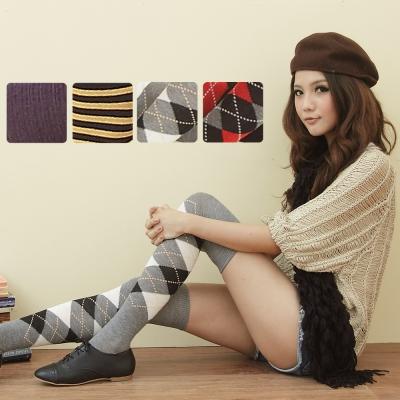 I-shi 日系甜美.百搭膝上襪4件組(金深藍+紅黑格+羅紋紫+灰黑格)