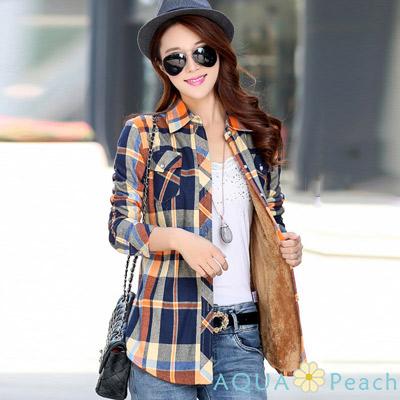 經典撞色格紋加絨長袖襯衫 (共二色)-AQUA Peach