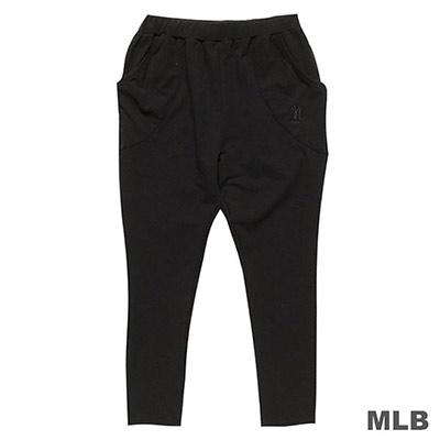 MLB-紐約洋基隊LOGO繡花飛鼠長褲-黑 (女)