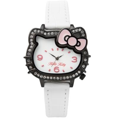 HELLO KITTY 凱蒂貓璀璨晶鑽蝴蝶結手錶-白x黑/35mm