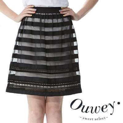 OUWEY歐薇-縷空線條歐根紗細摺微澎裙
